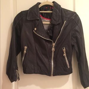 Doma Cropped Leather Jacket in Dark Brown